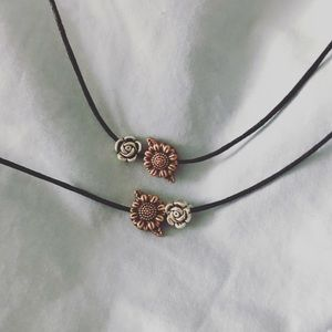 Sunflower and rose matching necklaces
